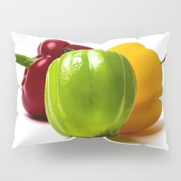 Three Bell Peppers Against The White Background. Green Pepper To The Front Pillow Sham