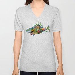 Colored Sea Shark Unisex V-Neck