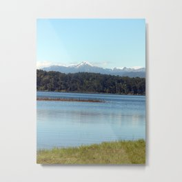 The New  Zealand Alps over a lake Metal Print
