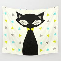 mid century modern Wall Tapestries featuring Mid Century Cat  by Laura Ruth