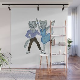 Snow Leopards Go Ice Skating Wall Mural