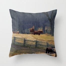Wilderness Horse Ranch Throw Pillow