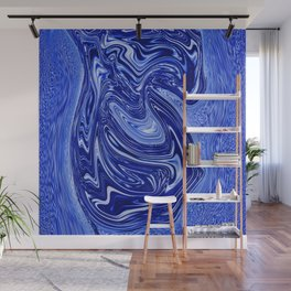 Experiment with blue surging fluid Wall Mural