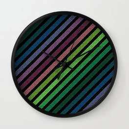 Dark Pixel strIpes Green Teal Blue Purple Mauve Wall Clock