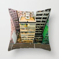 hong kong Throw Pillows featuring Hong Kong by Gal Raz