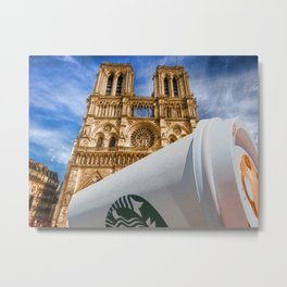 Discarded Coffee Cup Trash Oh Yeah - And Notre Dame Metal Print