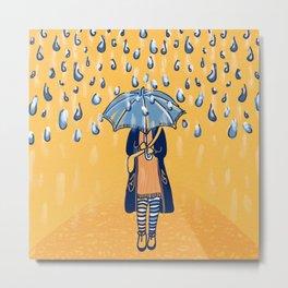 Rainy day girl Metal Print