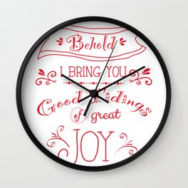 Tidings of Great Joy (red) by Jan Marvin Wall Clock