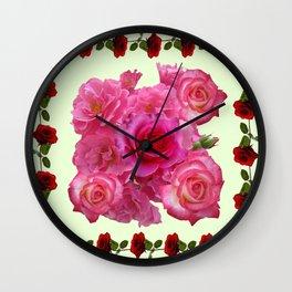 CONTEMPORARY ART RED & PINK GARDEN ROSES PATTERN Wall Clock