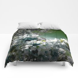Flowers Teal Green White Comforters