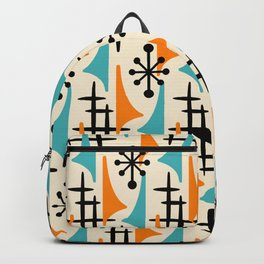 Mid Century Modern Atomic Wing Composition Orange & Blue Backpack