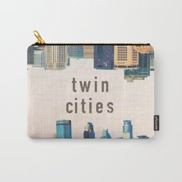Twin Cities | Minneapolis and Saint Paul Minnesota Skylines | City Collage Carry-All Pouch