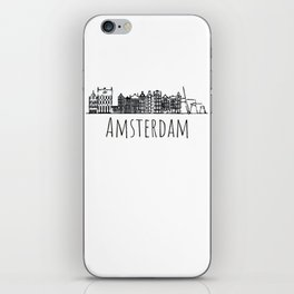 Colorful Amsterdam silhouette sketch Graphic Design iPhone Skin