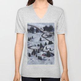 Mountain Winter Landscape Unisex V-Neck