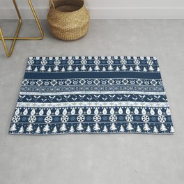 Retro . Christmas pattern . Blue background . Rug