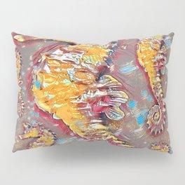 PUTTY GREY & GOLD SEA HORSES BEACH ART Pillow Sham