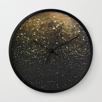 sparkle Wall Clocks featuring Sparkle by Jane Lacey Smith