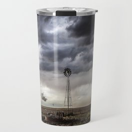 No Man's Land - Windmill on Stormy Day in Oklahoma Panhandle Travel Mug
