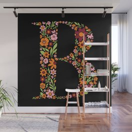 Retro Floral Letter B Wall Mural