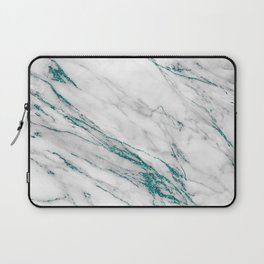 Gray Marble Aqua Teal Metallic Glitter Foil Style Laptop Sleeve