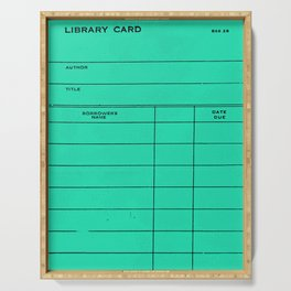 Library Card BSS 28 Turquoise Serving Tray