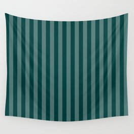 Dark Teal Thin Vertical Stripes Wall Tapestry