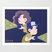 gravity falls Art Prints featuring Gravity Falls by Aysen Gerlach