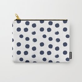 Navy Blue Round Brush Strokes Pattern Carry-All Pouch