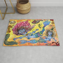 Blue-Finned Mermaids watercolor Rug