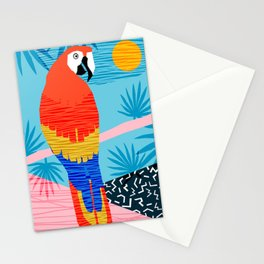 Say What - memphis throwback retro neon tropical 1980s 80s style hipster bright bird paradise art Stationery Cards