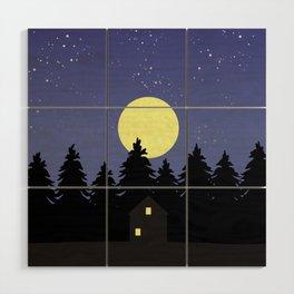 Starry Moonlit Night Sky Forest Wood Wall Art