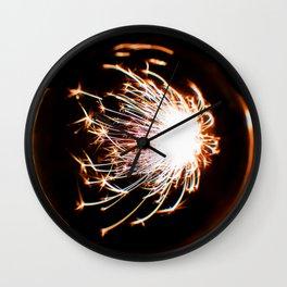 Orange Glitter Firework In Sphere Wall Clock