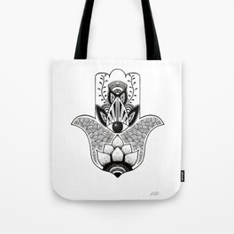 """The Hand of Fatima"",""Hand of Miriam"" with Eye of Horus, an ancient strong Symbol for Protection and Tote Bag"