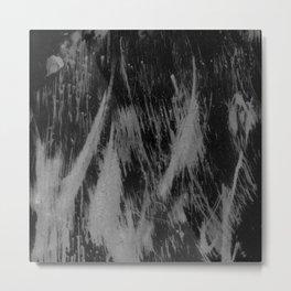 Gray black watercolor brushstrokes abstract pattern Metal Print