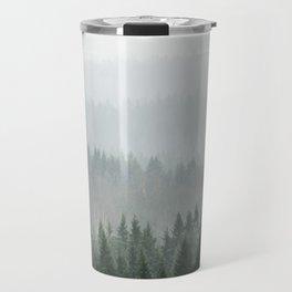Parallax Monochromatic Misty Pine Forest Landscape Photo Travel Mug