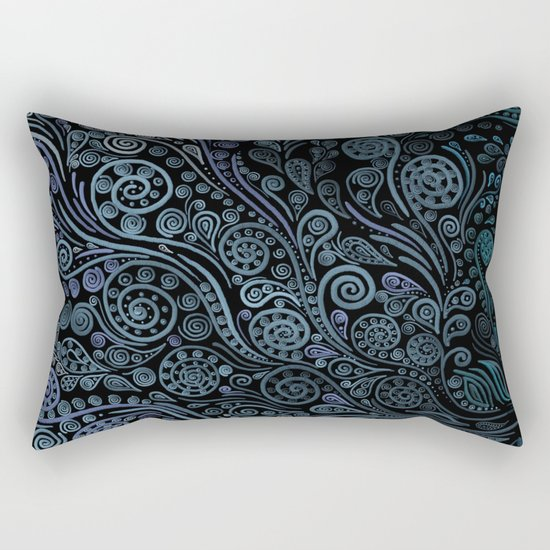 3D ornaments, blue Rectangular Pillow
