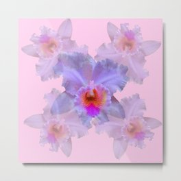 TROPICAL LILAC CATTLEYA ORCHID FLOWERS PINK ART Metal Print