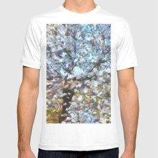 Spring Almond Blossom MEDIUM Mens Fitted Tee White