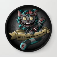 gore Wall Clocks featuring Chesire cat gore by trevacristina