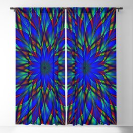 Stained glass flower mandala Blackout Curtain
