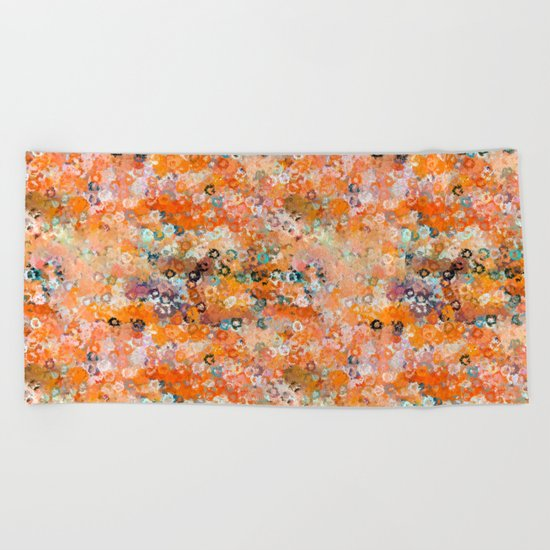 Blotchy Autumn Watercolor Pattern Beach Towel