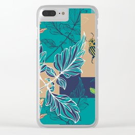 Tomatoes leaves and beetle -Mosaic Pantone palette Clear iPhone Case
