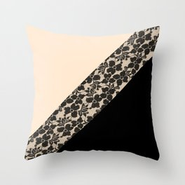 Elegant Peach Ivory Black Floral Lace Color Block Throw Pillow