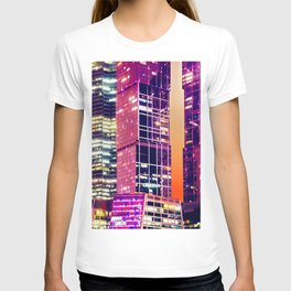 Red Night Architecture Abstract T-shirt