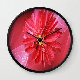 Crimson Dahlia Abstract Wall Clock
