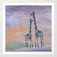 giraffes Art Prints featuring giraffes by Bunny Noir