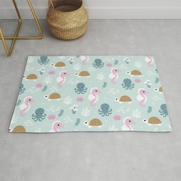 Deep Sea friends turtles jelly fish squid and sea horses girls pattern Rug
