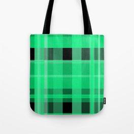 Shades of Green and Black Plaid Tote Bag
