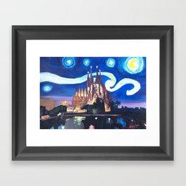 Starry Night in Barcelona - Van Gogh Inspirations with Sagrada Familia Framed Art Print
