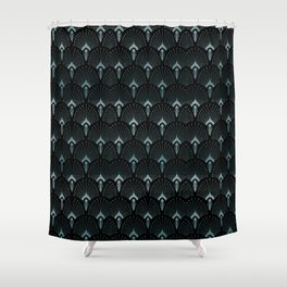Teal Art Deco,art nouveau pattern, art deco black teal pattern, chic,elegant,great Gatsby,belle epoq Shower Curtain
